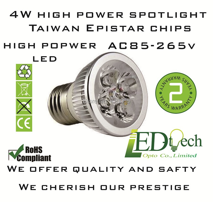 Europe type AC85-265V 4W E27 LED spotlight high power Epistar energy saving LED spotlight replacing halogen spotlight(China (Mainland))