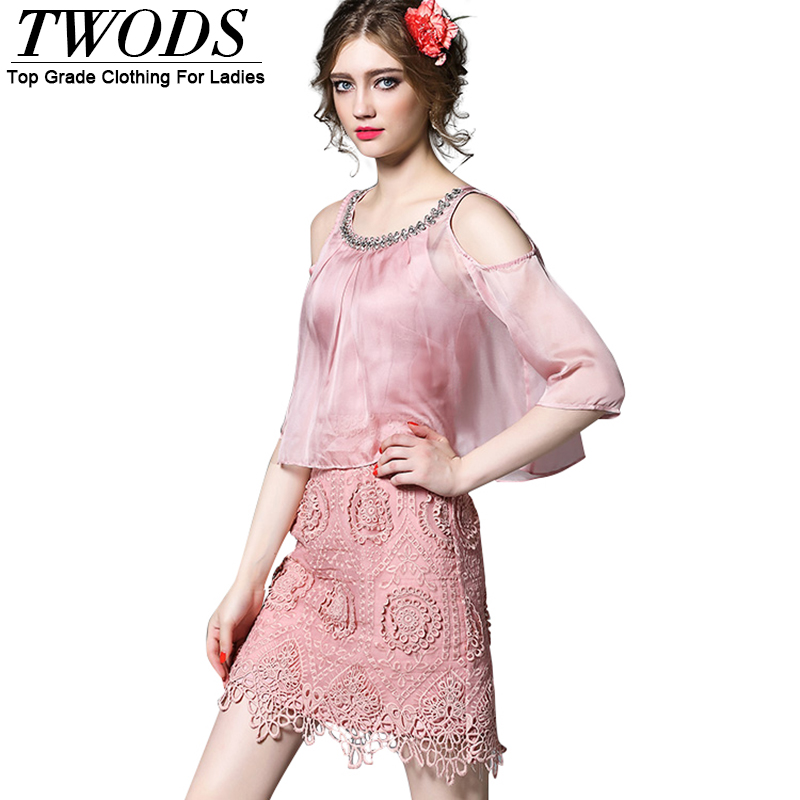 Twods S M L Elegant Organza Overlay Women Bodycon Dress Luxury Crystal O-neck Bustier Lace Summer Dresses Pink / White(China (Mainland))