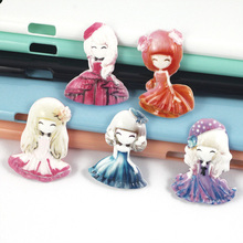 5Pcs/Lot New simulation cartoon Princess Beauty DIY mobile phone case resin accessories