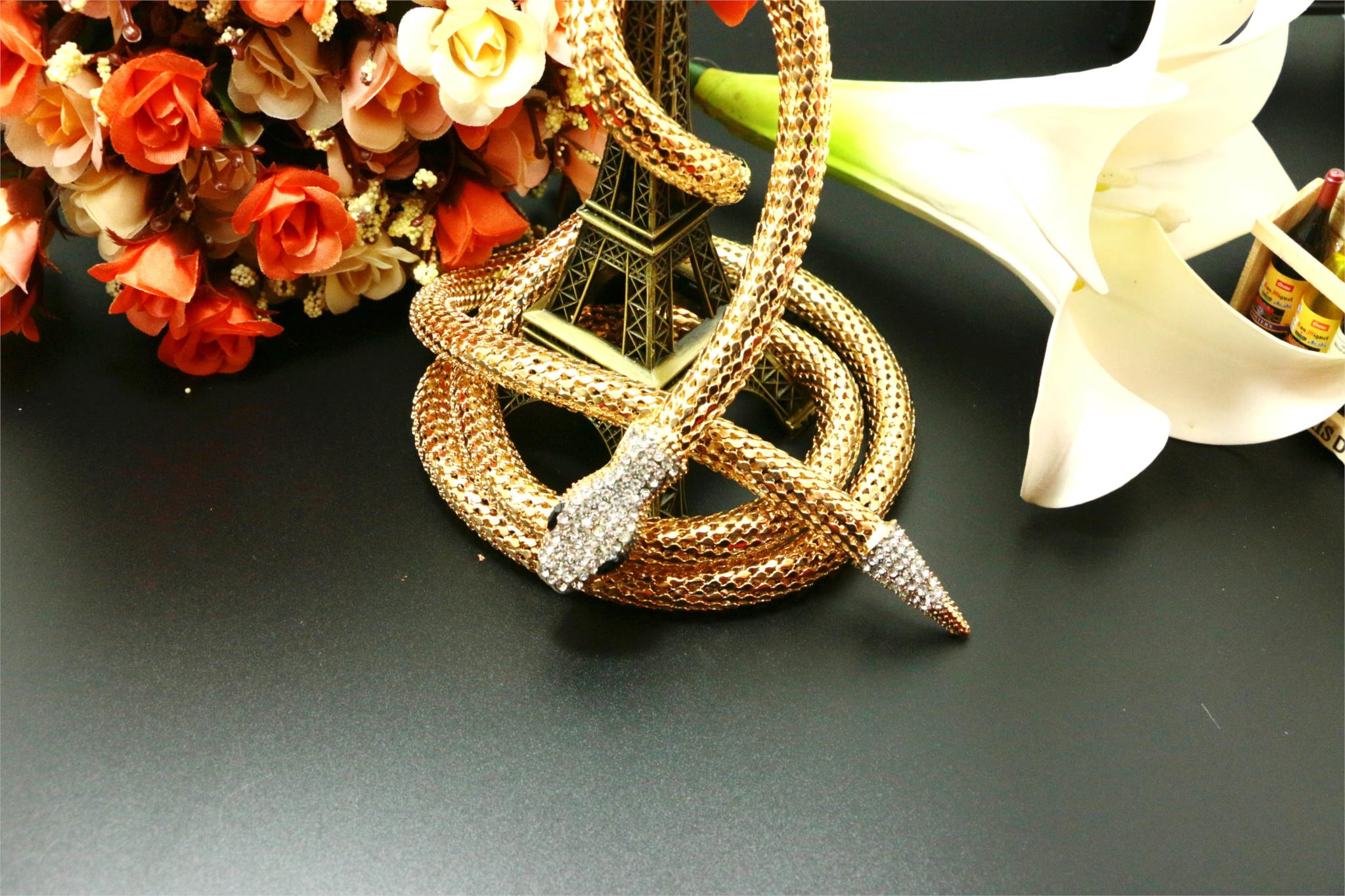 2015 trendy zinc alloy necklaces pendants link flexible chain collar long owl women rose gold plated animal flower(China (Mainland))