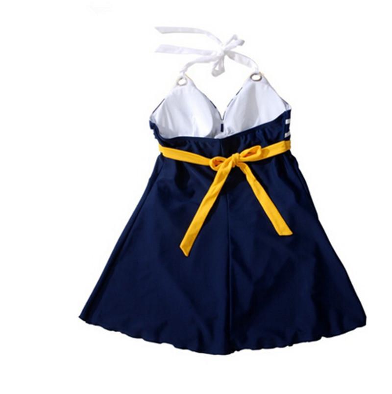2015 new plus size padded navy blue halter skirt