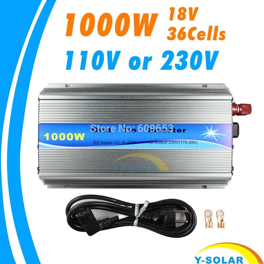 Grid Tie Inverter 1000W MPPT function Pure Sine Wave 110V OR 220V output 18V Input Micro On Grid Tie Inverter 18V 36 Solar Cells(China (Mainland))