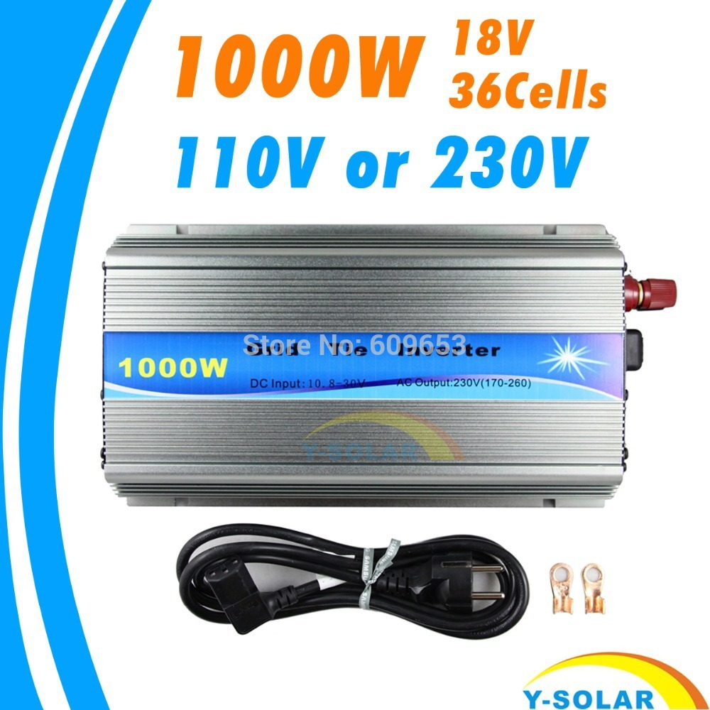 Фотография Grid Tie Inverter 1000W MPPT function Pure Sine Wave 110V OR 220V output 18V Input Micro On Grid Tie Inverter 18V 36 Solar Cells