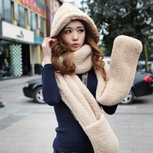2015 New Fashion Conjoined Hats For Women Men Hat Scarf Gloves Triad Hat And Scarf Set Cap Women Winter Hats Scarf Hood W3055(China (Mainland))