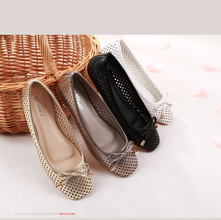 2016 spring and summer in Europe and America hollow square head bow flat shoes shoes SUB864