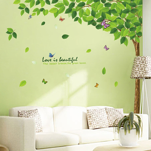 Removable Extra Large Size 165*120CM Green Leaves Tree Wall Sticker Living Room Decoration Home Decor Tree Wall Decal(China (Mainland))