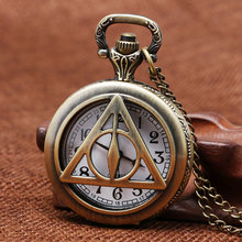 Harry Potter Theme Deathly Hallows Design Quartz Fob Pocket Watch With Necklace Chain Best Gift To Harry Potter's Fans(China (Mainland))