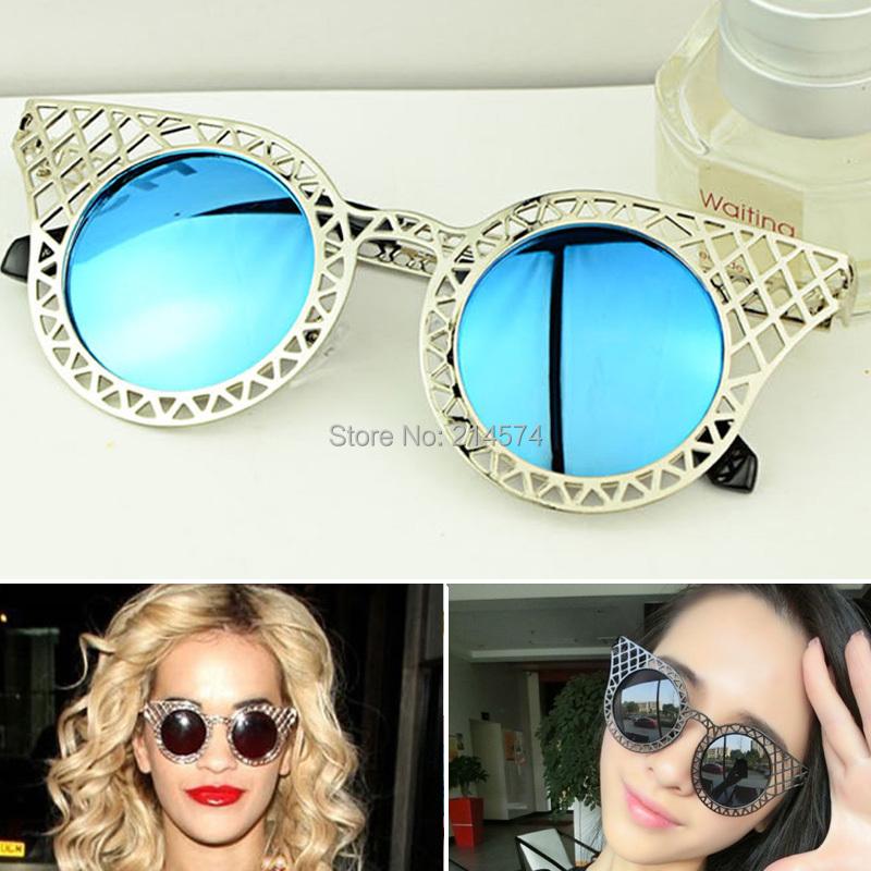 Hollow Metal Frame Goggles Sun Glasses for Women Oculos Redondo Vintage Femininos 2015 Lady Circle Sunglasses Points Round(China (Mainland))