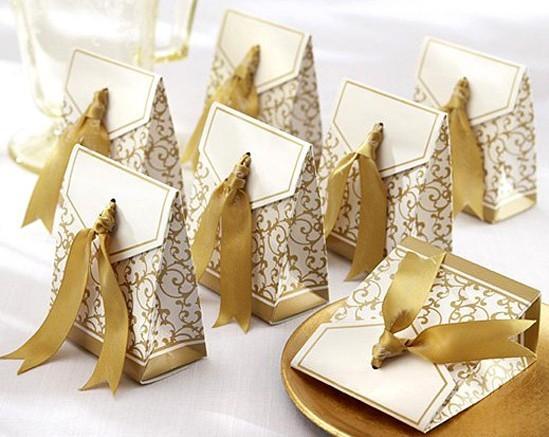 Free Shipping 100pcs Gold Ribbon Wedding favour box Party Candy Box Favor Gift Boxes wedding box
