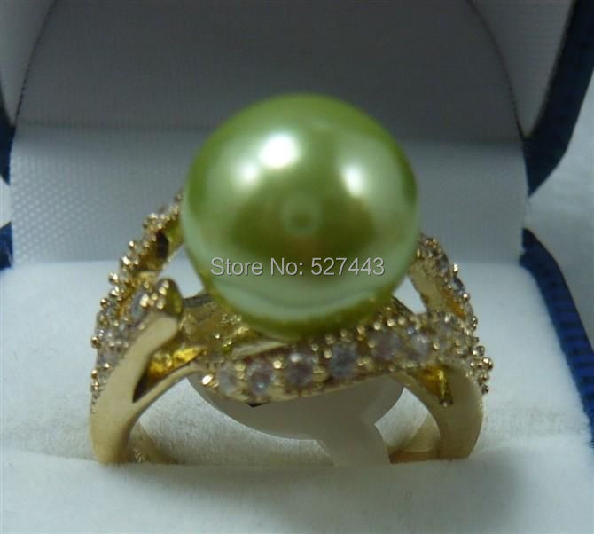 Wholesale FREE SIPP>>12MM Green South Sea Shell Pearl Ring 7 8 9 AAA(China (Mainland))