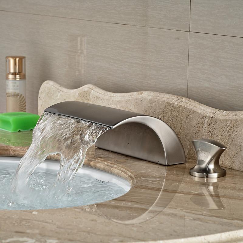 Купить Никель Щеткой Палуба Крепление Водопад Ванная Комната Сосуд Раковина Кран Двойной Ручки Смесители 3 Отверстия