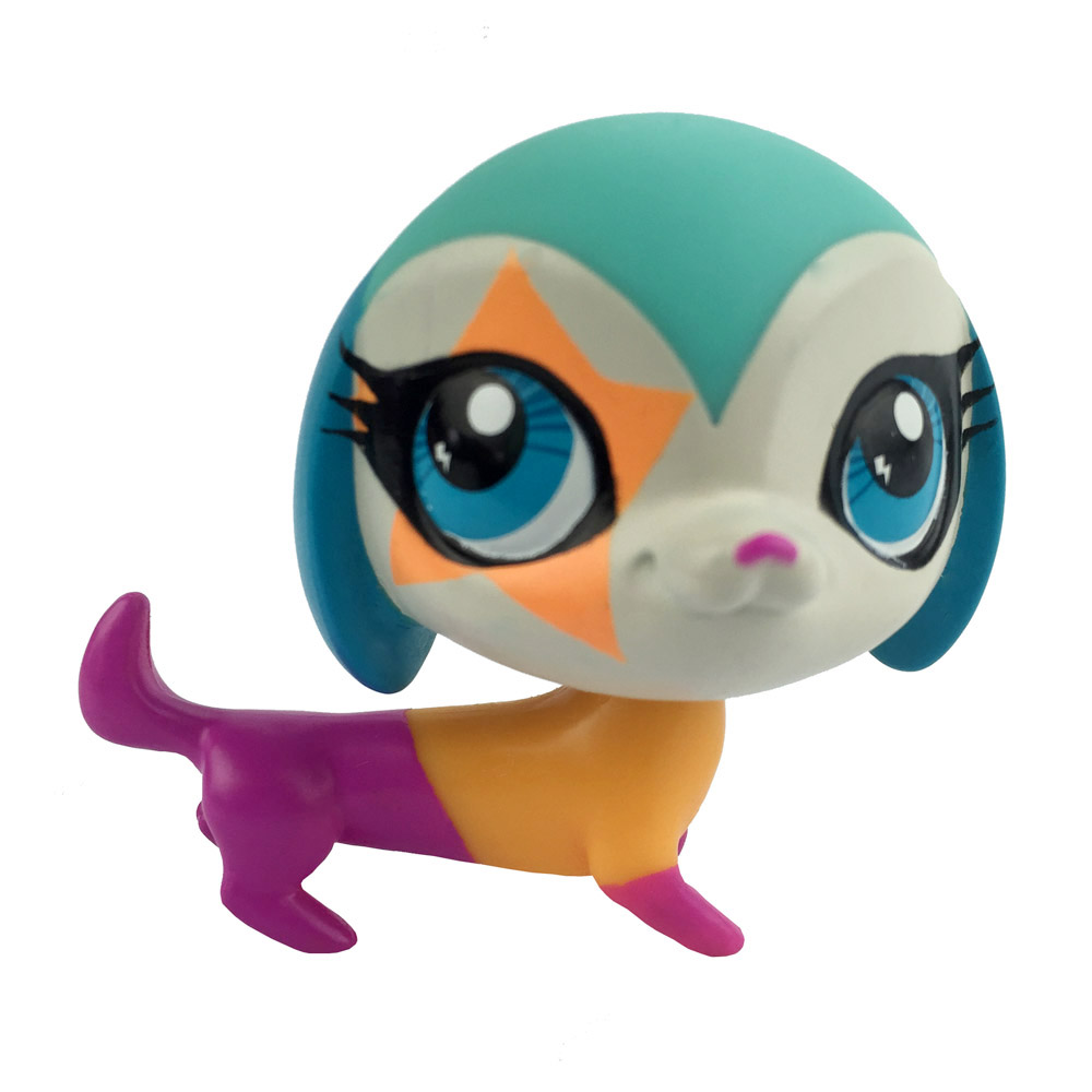 Cute Blue Eyes Colorful Dog Littlest Pet Shop Figure Gift Toy Animals 2 Inch Action Figure Collection Brinquedos Kids Juguetes(China (Mainland))