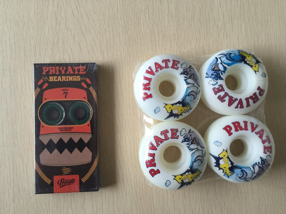 2015 Free Shipping Skateboard Parts Private ABEC-7 Skate Bearings And Private PU Skate Wheels<br><br>Aliexpress