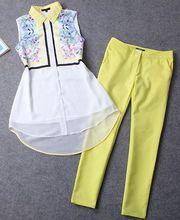 New 2015 Spring Summer Fashion Women 2 Piece Clothing Set & Sleeveless Long Print Shirt and Yellow Legging Pants Set & Hot Sale (China (Mainland))
