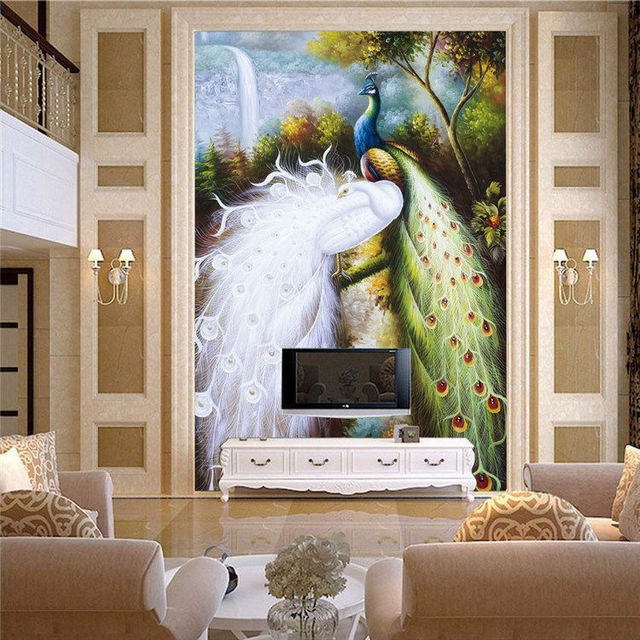 Buy elegant peacocks mural large size for Art room door decoration