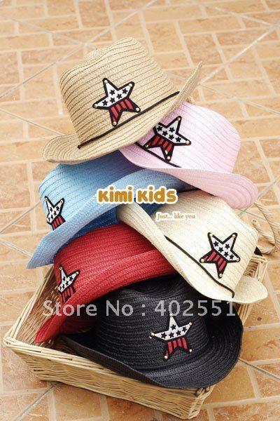 [CPA Free Shipping] Wholesale Kids Straw Cowboy Hat / Multi-Color Boys Cowboy Cap 10pcs/lot (SY-31)(China (Mainland))