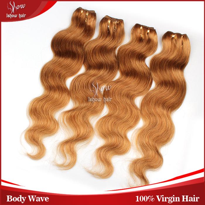 5A Peruvian Virgin Hair Body Wave 4 Bundle Deals Honey Blonde Human Hair Extensions 62-72G/Pcs 14-30Inches,No Tangle,No Sheding(China (Mainland))