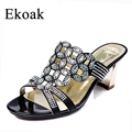 Ekoak New 2017 Fashion Summer Women Shoes Sexy Rhinestone Cut outs High Heels Sandals Ladies Party