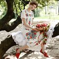 LYNETTE S CHINOISERIE 2016 Summer Original Design Women High Quality Vintage Mexican Style Embroidered White Honey