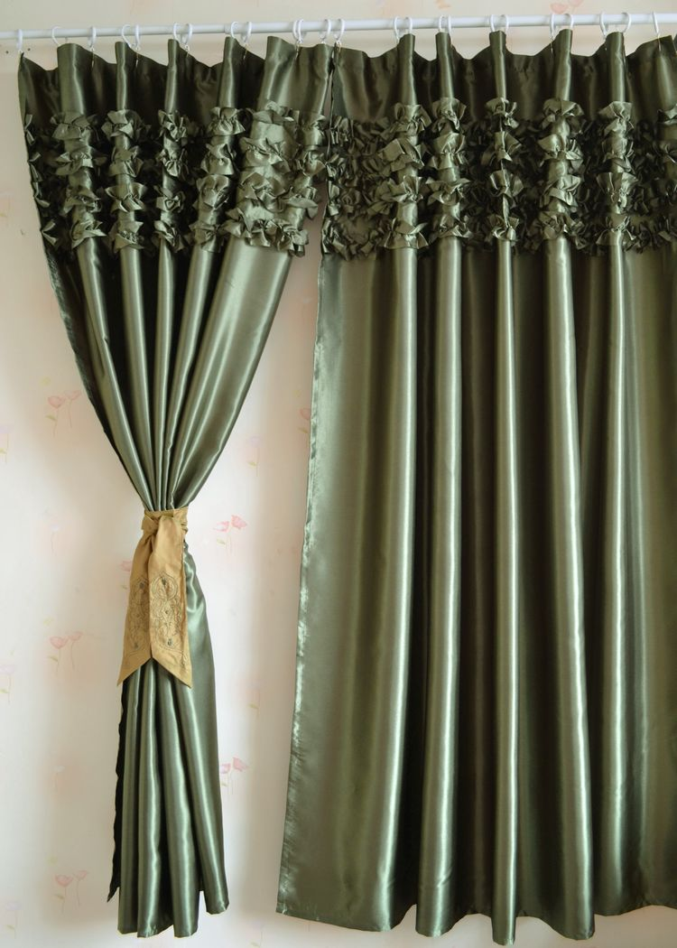 Green curtains for bedroom - 178x182cm Green Satin Curtain Ruffled Window Curtain For Living Room