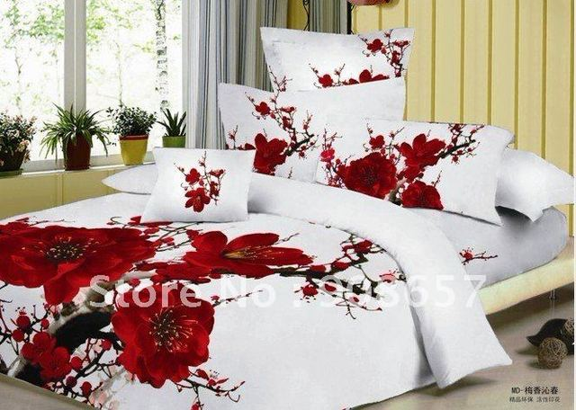 new 500 thread count red plum blossom pattern 100% cotton duvet cover sets 4pc for full/queen girl's comforter or quilt doona #N