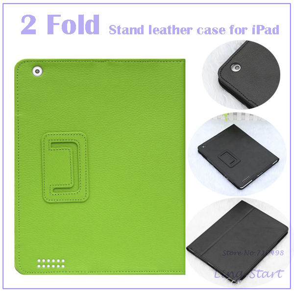 10pcs/lot Business Style 2 Folding Folio Leather Stand Case Cover For iPad 2 3 4 Solid-colored Magnetic Stand Wholesale & Retail(China (Mainland))