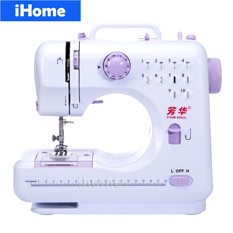 Household Multifunction Sewing Machine 505A Electric Desktop DIY Clothes 10 Stitches Reverse Replaceable Presser Foot LED light