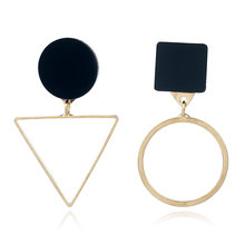 Trendy Earrings For Women Gold Unique Metal Drop Dangle Vintage Statement Earrings Round Geometric Earring 2019 Fashion Jewelry(China)