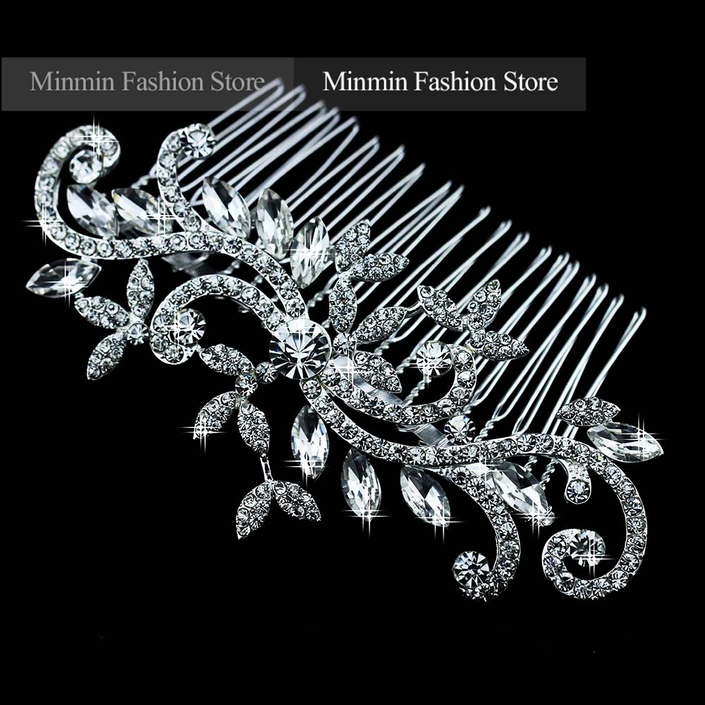Free Shipping High Quality Silver Floral Crystal Bridal Comb Hairpin Wedding Hair Accessories Hair Jewelry FS001(China (Mainland))