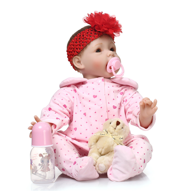 2016 Super Fashion Bebes Reborn De Silicone With Red Beautiful Flower On Head The Most Hot Sell Simulation Kids Toy Boneca Dolls(China (Mainland))