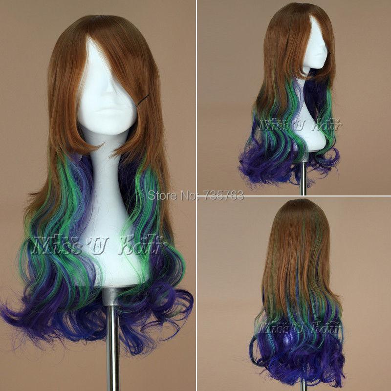 xiuli 00315 Long Wavy Peacock Color Cosplay Costume Wig Lolita Wig<br><br>Aliexpress