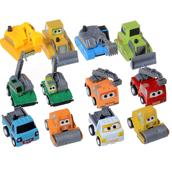 SET of 12 pcs Cute Engineering Pull Back Toy Pixar Cars Figure Truck Bulldozer Excavator Road Roller Digger Ladder (12 Pieces)(China (Mainland))