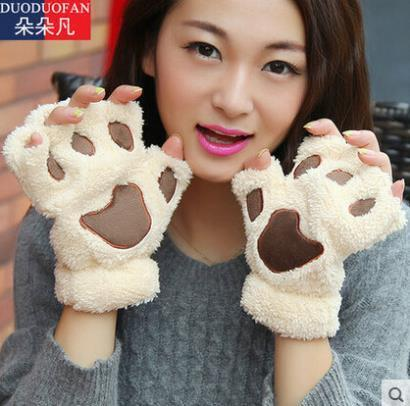 2015 Free Shipping Fluffy Bear/Cat Plush Paw/Claw Glove Novelty Halloween Soft Toweling Half Covered Women's Gloves Mittens(China (Mainland))