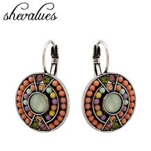 Womens Fashion Vintage Boho Glass Artifical Coral Round Aros Beads Bohemian Hoop Earrings Jewelry Brincos Earings EZ0607(China (Mainland))