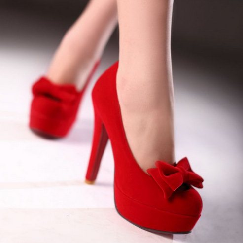 Red High Heels With Bow - Qu Heel