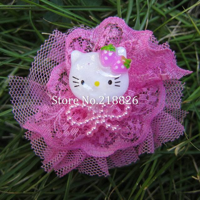 Popular new hello kitty fuchsia pink hair clip lace flower kids headwear princess girls bowknot beads hair accessories