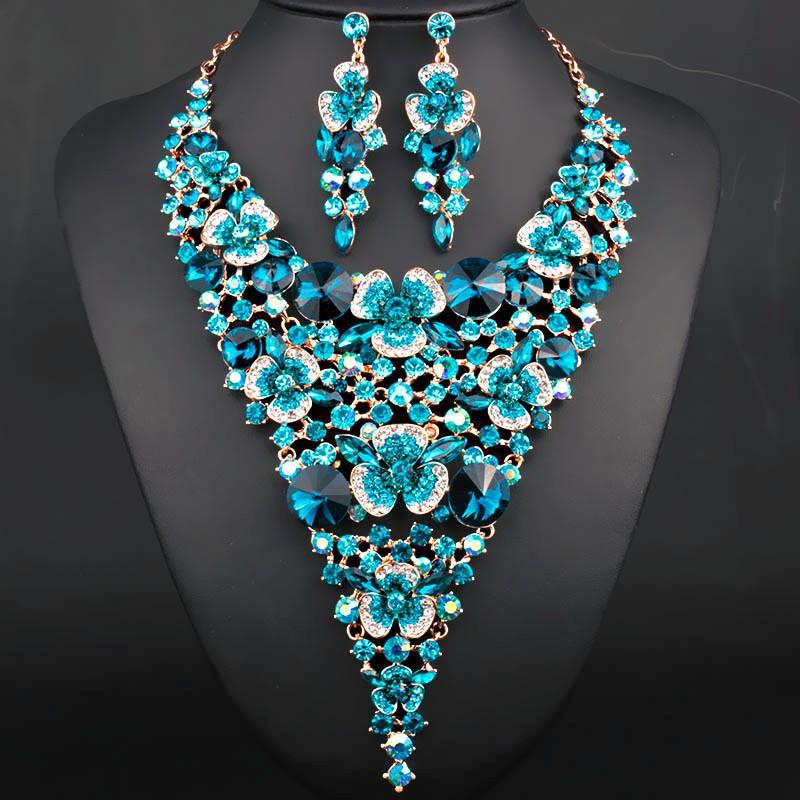 Роскошные Свадебные Комплекты Ювелирных Изделий позолоченный Большой цветок Себе Ожерелье и Серьги для Невесты Свадьба Аксессуары Женщин