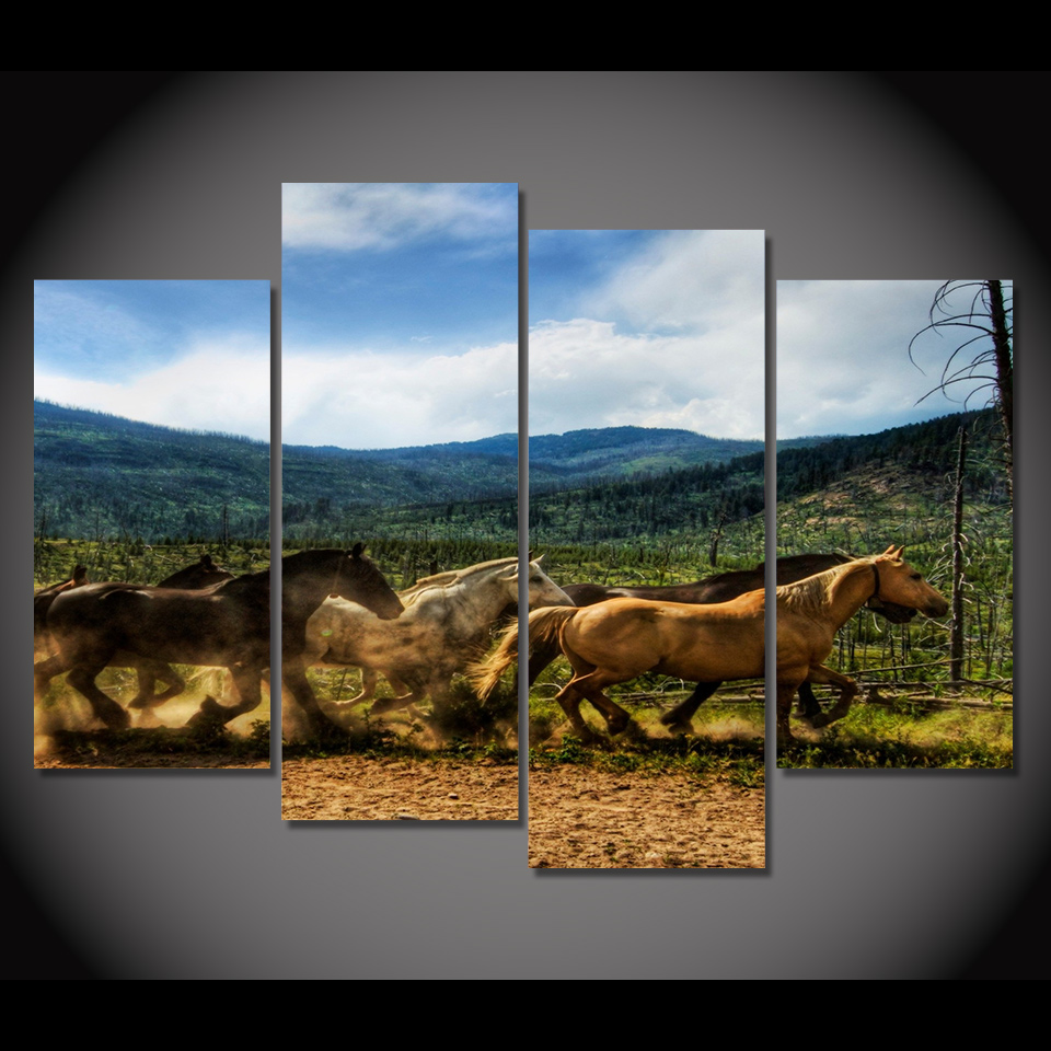 Print Canvas Painting horses dust corral herd running Wall Art Picture Bar Cafe Home Decoration Living Room Free Shipping(China (Mainland))