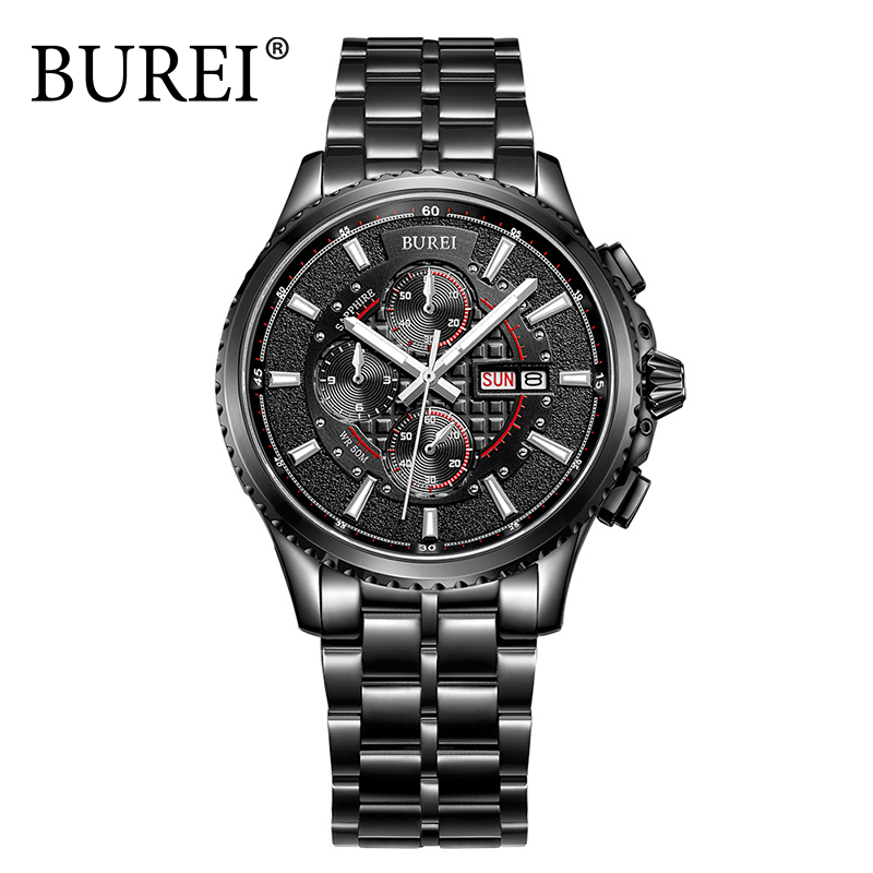 Фотография BUREI Men Watch steel Band Sapphire Mirror Quartz Waterproof Wristwatch Sport Chronograph Analog Male Watches Relogio Masculino