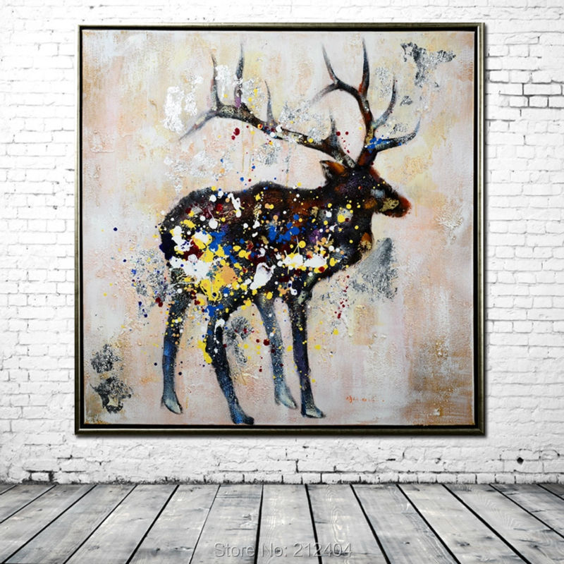 Abstract Black Deer Wild - Hand Painted Cartoon Animal Oil Painting Canvas Home Decoration Wall Art DaFen Asenart Studio store