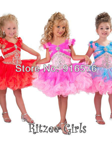 Organza With Rhinestone Flowers Sleeves Tiered Little Girls Short Pageant Cupcake Style Dresses For A Baby(China (Mainland))