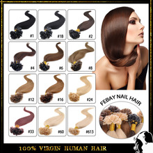 "18""-24"" 50G Natural Human Hair Nail Tip Hair Extension Keratin Prebonded  U tip hair 13colors to choose 100s/lot  free shipping(China (Mainland))"