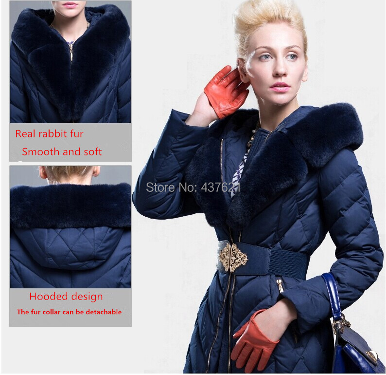 2015 Women's winter fashion large real Rabbit fur collar jacket Lady's brand slim plus size medium-long coat - Happy Time Store 437621 store