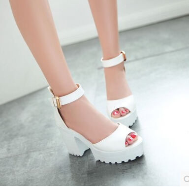 New Women's fashion thick heel Chunky open toe platform Gladiator sandals Pink White high-heeled shoes Plus size 35-43(China (Mainland))