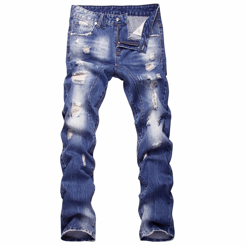 Скидки на 2016 новый стиль отверстие патч нищие тонкий мужские джинсы брюки мужские джинсовые прямые брюки высокое качество модной одежды TE017