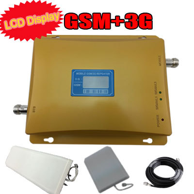LCD Display GSM 3G Dual Band Repeater Mobile Signal Booster GSM 900 UMTS2100 2G 3G Booster GSM WCDMA Amplifier Kit(China (Mainland))