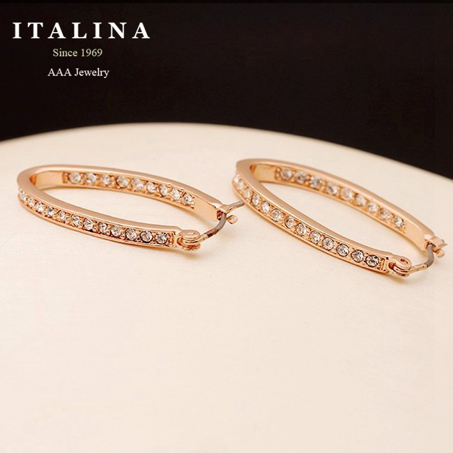 Top Quality Genuine Austrian Crystal Rose Gold Plated U Shaped Hoop Earrings for Women Italina Red Apple Brand(China (Mainland))