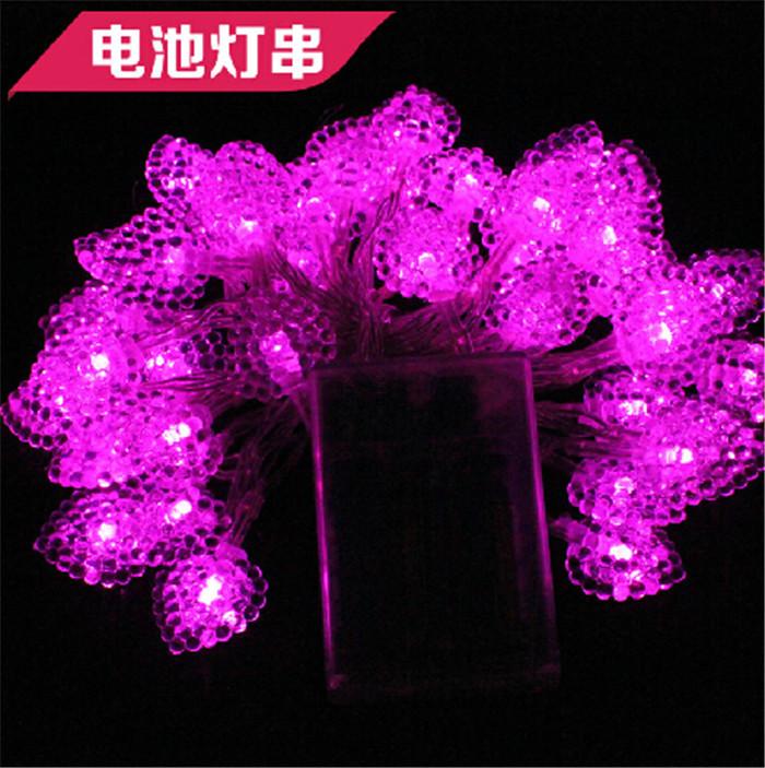 5M 50LED Wedding Party xmas Heart Shape Love Festival String Fairy Lights Free Shipping Christmas light battery(China (Mainland))