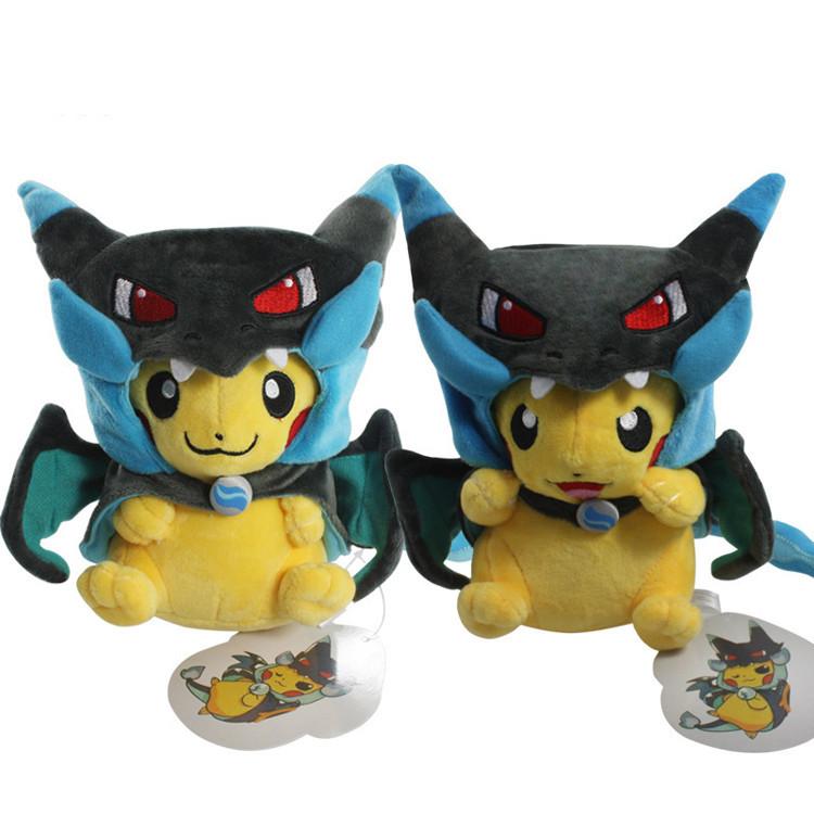 Fashion 2 Style Pokemon Pikachu Cosplay Mega Charizard X Plush Toys 25cm Kawaii Pikachu Plush Soft Stuffed Animals Toys for Kids(China (Mainland))