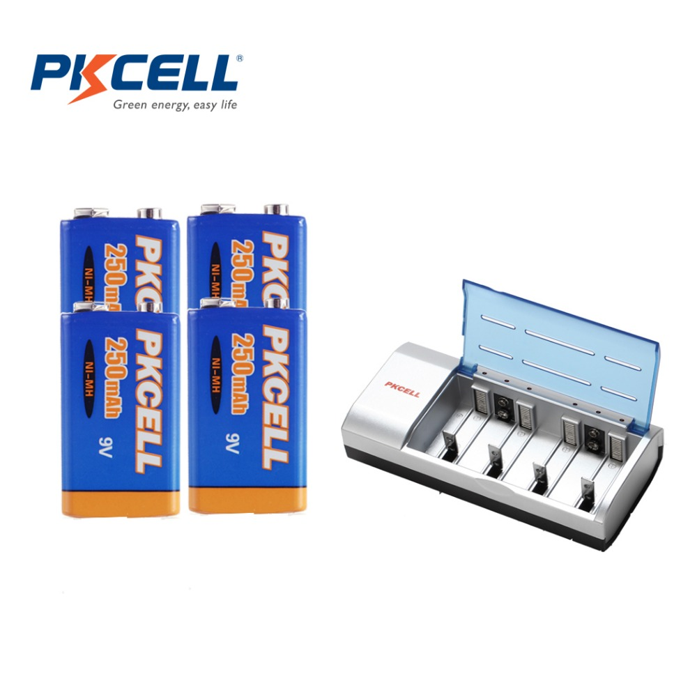 4Pcs*PKCELL 250Mah NIMH 6F22 9V Rechargeable Battery with 1Pcs 8182 9V Battery Charger(China (Mainland))